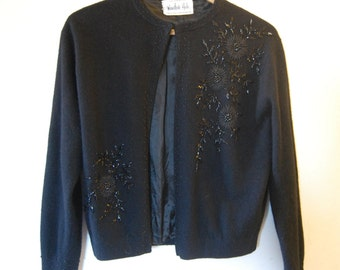 Vintage 1950's Black Beaded Wool Cardigan