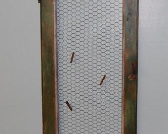 Hand Painted, Vintage Cabinet Door, Chicken Wire, Message Center