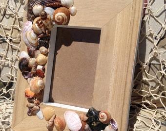 No.9  Picture Frame Hand Crafted, Sea Shells, Beach Decor, Ocean Décor, Home Décor, Beach Cottage