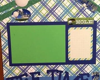 """Golf Tee Time 12x12"""" Premade Scrapbook page"""
