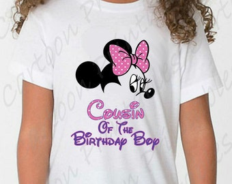 Minnie Mouse Cousin of The Birthday Boy IMAGE Mouse Ears Printable Clip Art Iron on Disney Shirt T-shirt Scrapbook Instant Download