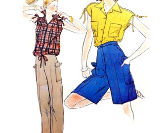 70s Simplicity 8447 Drawstring Shoulder Top and Cargo Pants or Shorts with Flappy Pockets Trimmed Sewing Pattern Size 12 or 14-16
