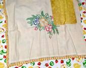 Half Apron, Handmade, Vintage tea towel