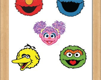 Sesame street birthday party characters - elmo- cookie monster - abby cadabby- big bird - oscar- sesame street cutouts- clipart-illustration