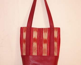 Handwoven southwest ikat fabric and red leather tote bag purse