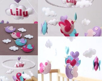 Baby Mobile, Personalised little love birds baby cot mobile, crib mobile, baby girl, nursery decor