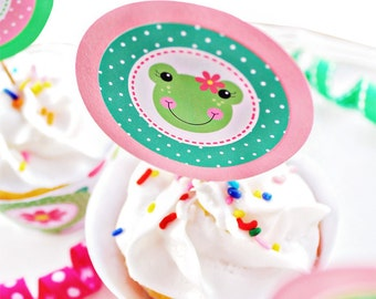 Spring Frogs Printable Party Favor Tags, 2 IN Cupake Toppers, Girl Frog Party Square Tags, Frog Birthday Tags, Cute Girl Frog Printable