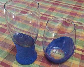 Mr. & Mrs. Wine and Beer Glasses