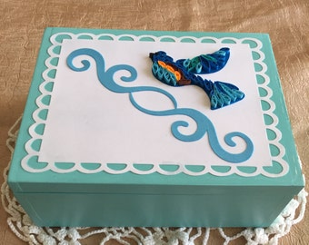Scripture box, scripture cards, quilled bird, recycled cedar, treasure box, blue bird, Joy, Hope, Blessed