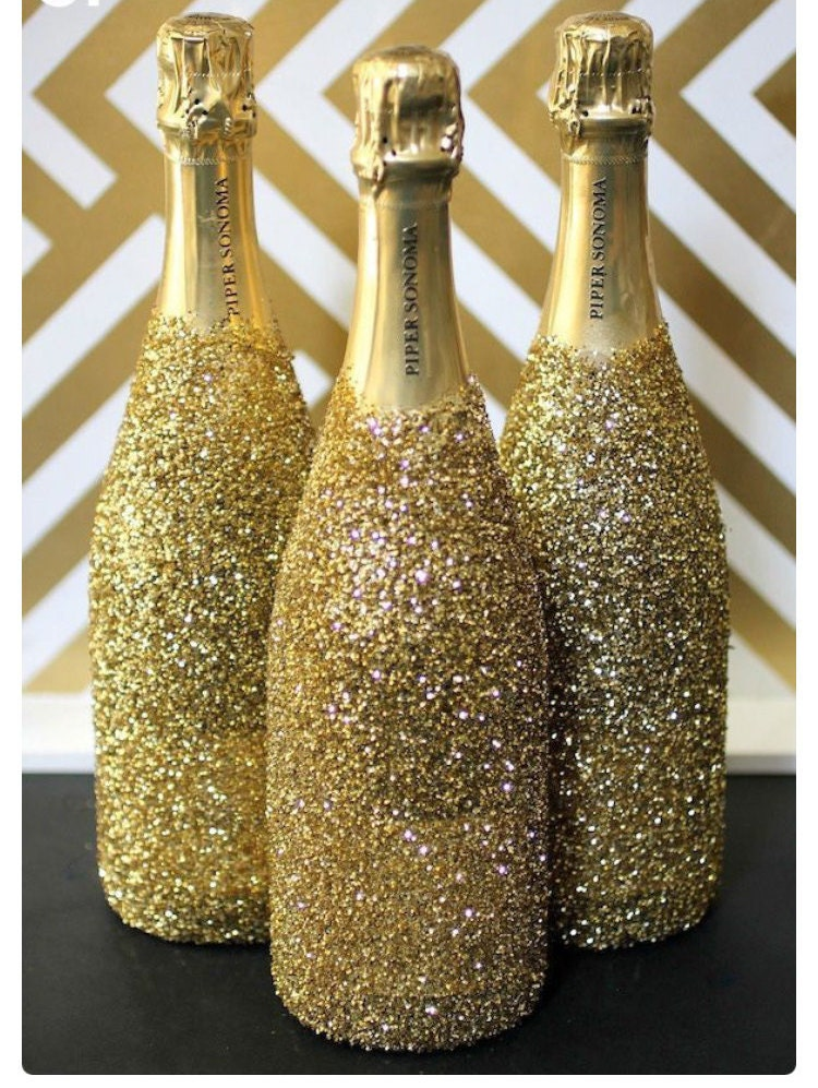 emptied glitter wine bottle by poshstyledecor on etsy