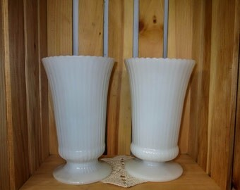 Vintage E.O. Brody Milk Glass Vase Set of Two, Shabby Chic, French Country Decor, Wedding, Bridal Shower, Baby Shower, Outdoor Party, Dining