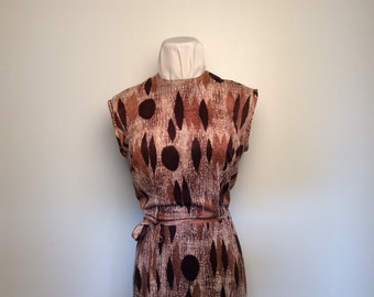 retro print dress, c. 1960, size S