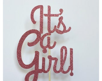 It's a Girl! Baby Shower Cake Topper, Glitter Baby Shower Cake Topper