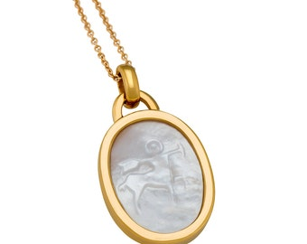 Sagittarius Mother of Pearl Zodiac Charm Necklace