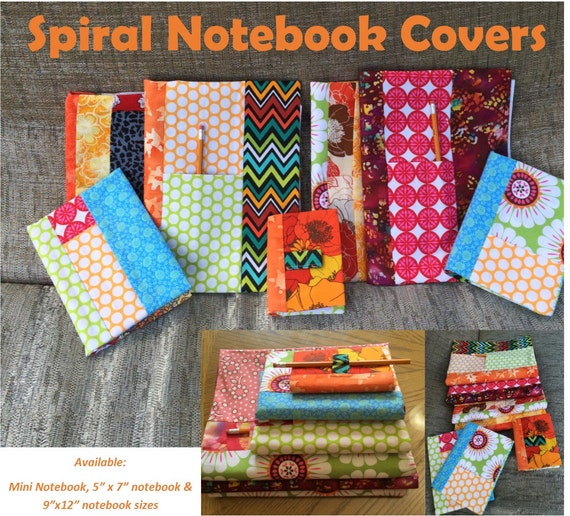 Notebook Cover Sewing Pattern : Spiral notebook covers pdf sewing pattern sizes by