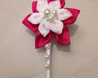 Fabric Kanzashi flower boutonnière