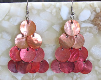 Ombré Red Waterfall Earrings ~ Shimmering Triangle-Shaped Shell Cascade ~ Chandelier Earrings