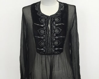 Embroidered Chiffon Gypsy Blouse