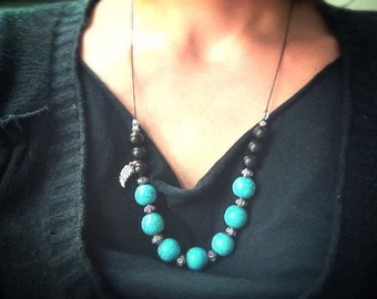 Turquoise and black collar