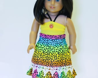 American made Girl Doll Clothes, 18 inch Doll Clothing, Leopard Maxi Skirt, Halter Top made to fit like American girl doll clothes