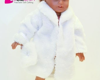 American made Girl Doll Clothes, 18 inch Girl Doll Clothing, White Faux Fur Coat, Hat and Muff made to fit like American girl doll clothes