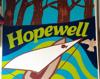 Vintage original Hopewell neighborhood print, Columbia, MD by Gail Holliday, 1973