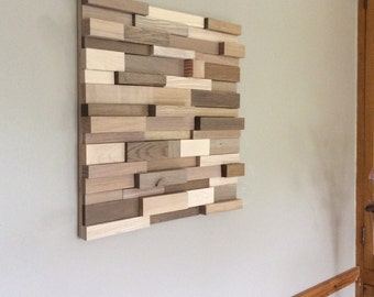 Porthgwidden. Wood wall art, oak, ash, maple on birch ply, grey & white finish. Handmade in Cornwall.