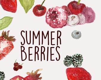 Hand Painted Water Color Clip Art - Summer Berries - Scrapbooking