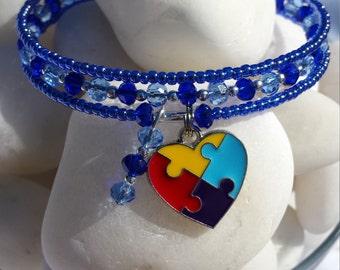 Autism jewelry - handmade Autism awareness bracelet - puzzle piece charm bracelet - wrap bracelet