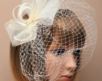 Cream Ivory Hat Fascinator Feathers and Net. Facinator Headband, Head Piece, Mother of the Bride, Christening