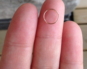 24,22,20 Gauge Rose Gold / Rose Gold Fill Nose Ring, Thin 24 gauge,Small Rose Gold Nose Hoop.