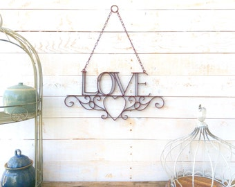 "Iron ""Love"" Sign, Home Decor, For The Home, Wedding Decor, Customize"