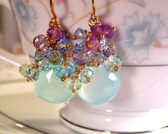 14k Multi Gemstone Cluster Earrings, 14k Gold Gemstone Cluster Earrings, 14k Gold Chalcedony Earrings