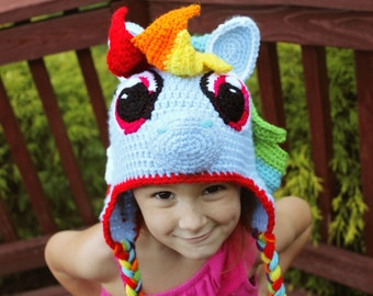 My Little Pony Costume, Rainbow Dash, Crochet Hat with Earflaps, Rainbow Dash Costume or Photography Prop, Crochet hat for Toddler to Adult