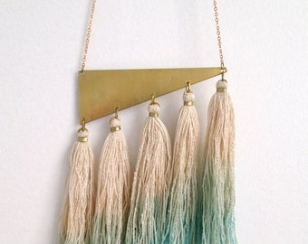 Raw Silk Tassel Brass Ombre Necklace Fiber Art Markota1970