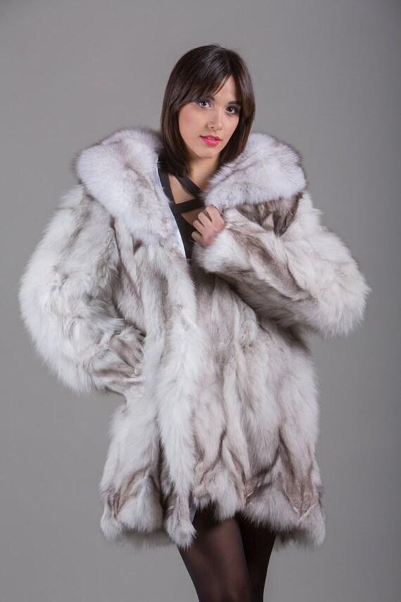 Luxury gift/Blue Fox Fur Coat Fox Collar Knee Length