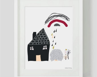 kids interiors - House on hill - Kids wall decor - kids room decor - childrens Room Decor / Nursery Art Print / childrens Interior Design