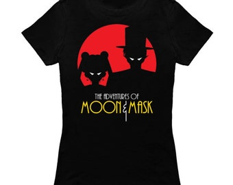 "WOMENS ""Moon & Mask"" Sailor Moon Tuxedo Mask Parody T-Shirt *FREE SHIPPING*"