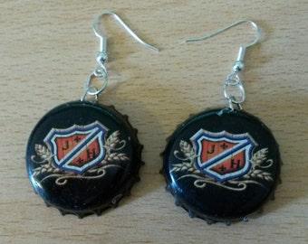 J H Crest Bottle Cap Earrings