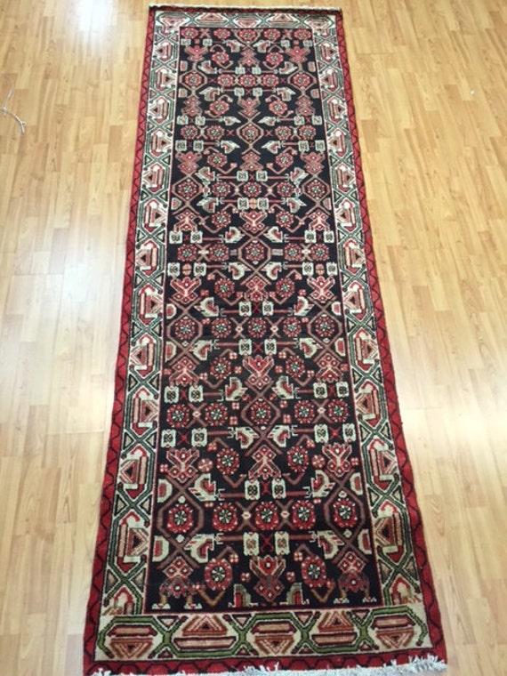 "3'3"" x 9'7"" Persian Hamadan Runner Oriental Rug - 1980s - Hand Made - 100% Wool - Vintage"