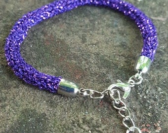 Purple Sparkly Knitted Bracelet