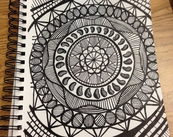Rotary, Mandala, Original Ink Drawing, Zentangle Inspired
