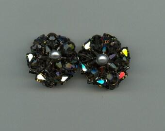 Fabulous Rhinestone and Crystal Bead Earrings Signed Eugene
