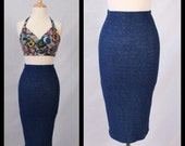 MADE TO ORDER Limited Edition Super Stretch Spandex 'Denim-like' Pencil Skirt