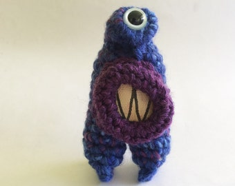 Plush Crochet Monster Keychain or Ornament - Deena