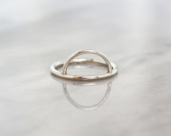 Half Moon Stacking Ring, Half Moon Ring, Silver Stacking Ring, Argentium Silver Band, Geometric Jewelry, Modern Silver Ring, Stackable Ring