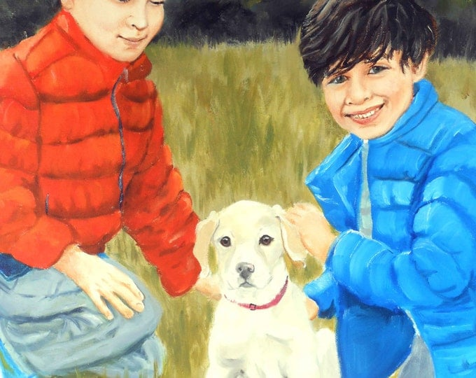 Portrait Painting from your photos, Kids, Adults, Pets included