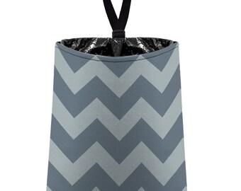 Car Trash Bag // Auto Trash Bag // Car Accessories // Car Litter Bag // Car Garbage Bag - Chevron - Light Grey and Dark Grey Zigzags