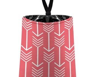 Car Trash Bag // Auto Trash Bag // Car Accessories // Car Litter Bag // Car Garbage Bag - Arrows (coral pink white) // Car Organizer