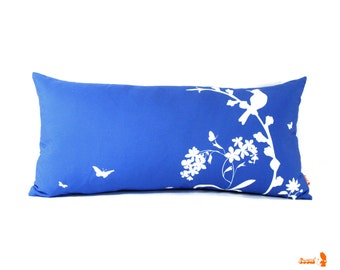 Cobalt Blue Bird & Blooms Rectangle Pillow